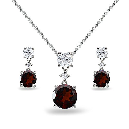 Sterling Silver Garnet & White Topaz Round Three Stone Dangling Necklace & Stud Earrings ()