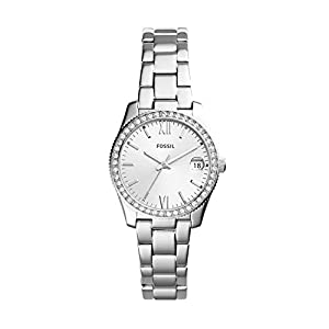 Fossil Women's Scarlette Quartz Watch with Stainless-Steel Strap, Silver, 16 (Model: ES4317)