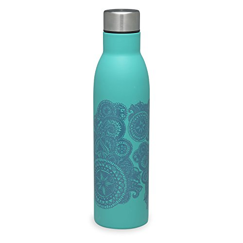 Gaiam Water Bottle Easy-Grip Stainless Steel, Teal Medallion, 25 oz