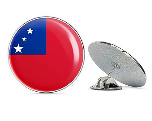 Pins Lapel Samoa (Samoa Flag Round Metal 0.75