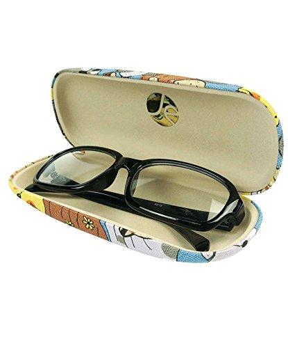 JAVOedge Cartoon Cat Pattern (Blue) Eyeglass / Reading Glass Hard Case and Bonus Microfiber Cleaning Cloth