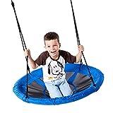 Ruqiji Flying Saucer Tree Swing 40 Inch Giant Web Disc Swing Hanging Kit Adjustable Ropes Steel Frame for Kids Outdoor Backyard Garden Playground (Blue)