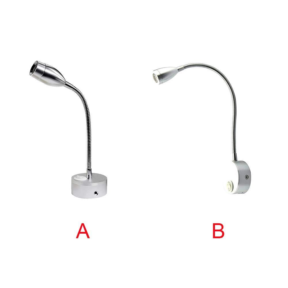 LED Lampe Free Size A Argent 2pcs Chevet RV Lampe Spot 3000K 12V Flexible Col de Cygne Applique Lampe pour Camper Caravane Camionnette Bateau