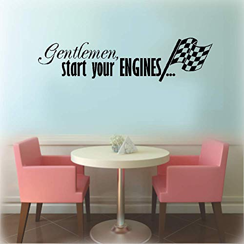 Loierst Wall Decal Sticker Art Mural Home Decor Gentleman Start Your Engines with Checkered Flag Racing Race Cars Boys Kids Room Home Decor