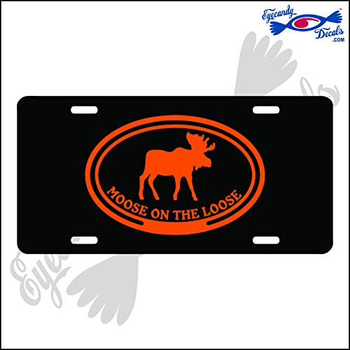 Eyecandy Decals Moose ON The Loose in Oval Orange on a Black Acrylic Mirror License Plate - Oval License Plate