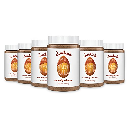 Maple Almond Butter by Justin's, No Stir, Gluten-free, Non-GMO, Responsibly Sourced, Pack of 6 Jars, 16oz each Almonds 16 Oz Jar