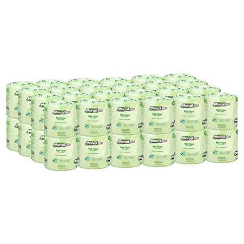 Tree Embossed Seals - Marcal Pro Toilet Paper 100% Recycled - 2 Ply, White Bath Tissue, 242 Sheets Per Roll - 48 Individually Wrapped Rolls Per Case Green Seal Certified Toilet Paper 03001