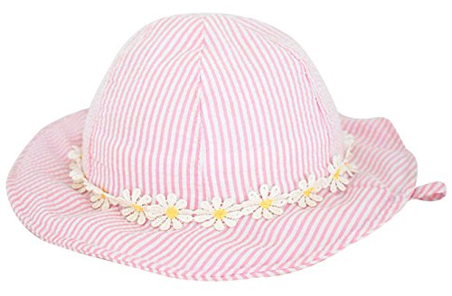 Happy Cherry Baby Sun Hat Sunny Patch Cute Little Daisy Print Hat Bucket Hats With Wide Brim Princess Hat For Sun Protection For 3-6 M Pink ()