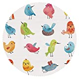 iPrint No Chemical Odor Round Tablecloth [ Animal,Colorful Cute Birds Watercolor Effect Humor Funny Mascots Paint Brush Art Kids Design,Multi ] Fabric Home Set