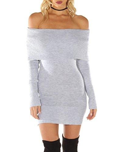Simplee Bodycon Maglione Abbigliamento Spalle Manica Delle Donne Maglia Mini Abito Grigio Lunga wITdpqI