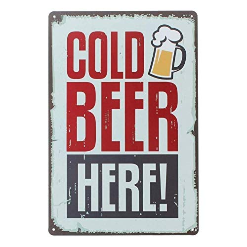 (UNIQUELOVER Cold Beer Here Retro Vintage Tin Sign 12