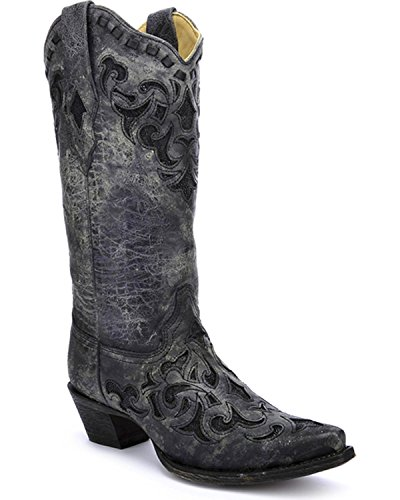 CORRAL Women's Stingray Inlay Cowgirl Boot Snip Toe Grey 8 M US (Boots Stingray Cowgirl)