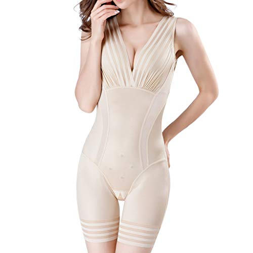 - KLGDA Women's Body Shaper Seamless Conjoined Abdomen Waist Control Tummy Weight Loss Open File Shapewear Bodysuit Khaki