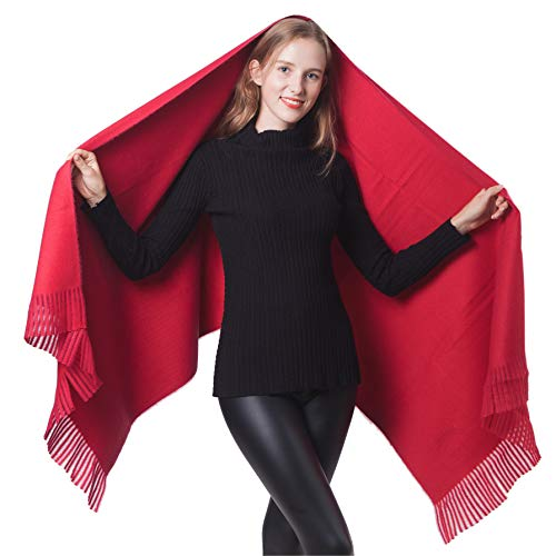 Women Soft Cashmere Wraps Large Pashminas Shawl Wool Burgundy Stole Scarf Cape for Lady (1-Burgundy)