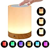 LK&smart Night Light, Smart Touch Sensor Bedside Lamp, (Dimmable 3 Level Warm White Light & Six Color Changing RGB)