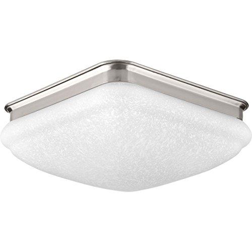 Progress Lighting P350018-009-30 Square Glass FM One-Light LED Flush Mount, Brushed Nickel ()