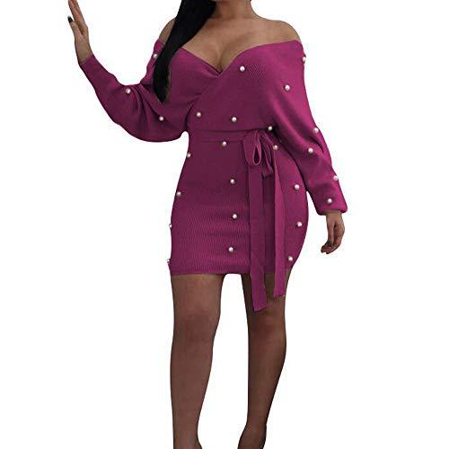 Solid Slim V-neck - iYYVV Womens Fashion Sexy Solid Deep V-Neck Long Sleeve Sashes Pearl Slim Wrap Dress