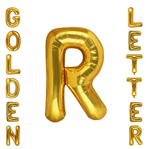 Gold Alphabet Letter Balloons Mylar Foil Birthday Party Decorations 40 Inch Letter R -