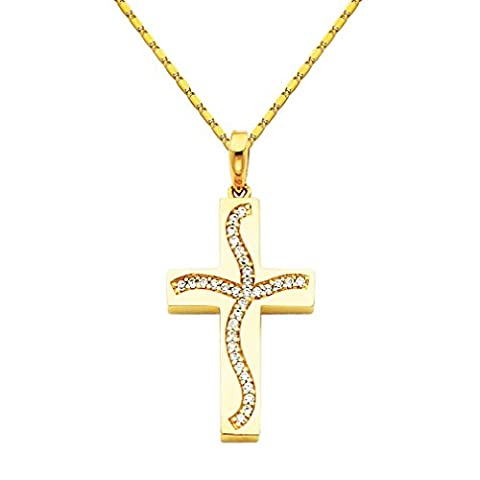 Wellingsale 14k Yellow Gold Polished CZ Cubic Zirconia Cross Charm Pendant with 1mm Snail Link Chain Necklace - - Cubic Zirconia Cross Charm