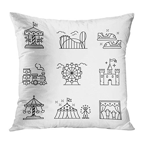 Ortrial Throw Pillow Cover Print Polyester Theme Amusement Park Sings Set Thin Decorative Sofa Bedroom Hidden Zipper Pillowcase Patio Outdoor 16 x 16 Inches
