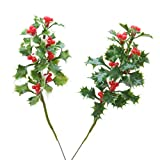Christmal Floral Holly Pick Assorted Green and Varigated Green 7 Inches (12 Pack)