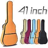 OriGlam Bolsa para guitarra acústica de 41 pulgadas, impermeable, acolchada de 0.3 pulgadas, funda para guitarra, doble correa ajustable para el hombro, mochila para guitarra acústica, color naranja