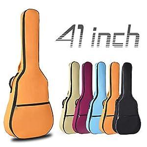 OriGlam Gitarrentasche für Akustikgitarre, wasserdicht, 0,8 cm, gepolstert, 2 verstellbare Schulterriemen, Orange