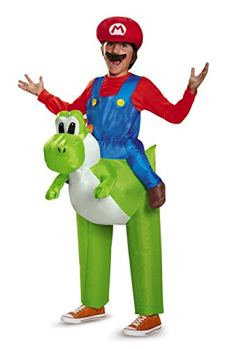 Mario Characters Costumes (Mario Riding Yoshi Inflatable Child Costume)