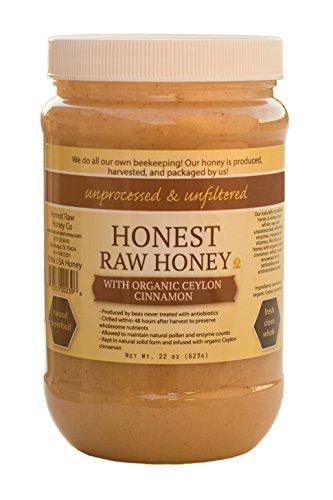 Honest Raw Honey, Non-GMO, Kosher (Organic Ceylon Cinnamon, 22 oz) (Cinnamon Honey)