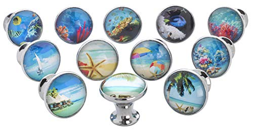 Fish Drawer Knobs (Tropical, Ocean, Fish, Nautical Glass Knobs, Drawer Pulls - 12 Pack)