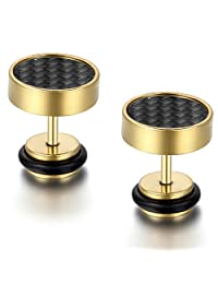 Flongo Men's 8mm Stainless Steel Grid Check Carbon Fiber Faker Chaux Tunnel Illusion Screwback Stud Earrings