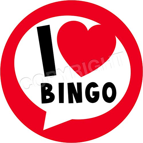 I Love Bingo Sticker Labels (24 Stickers, 1.8'' Inch Each) Seals Ideal for Party Bags, Sweet Cones, Favours, Jars, Presentations Gift Boxes, Bottles, Crafts -