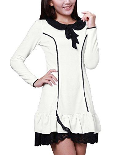 Allegra K Allegra K Damen Langarm Lace Spitze Saum Puppenkragen Kleider Dress Weiß vlFDTZEBo