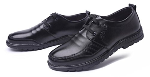 Vestir Mlsopx Cuero Hombre Black Zapatos Negocios Transpirables Para De 39 qqRHrX
