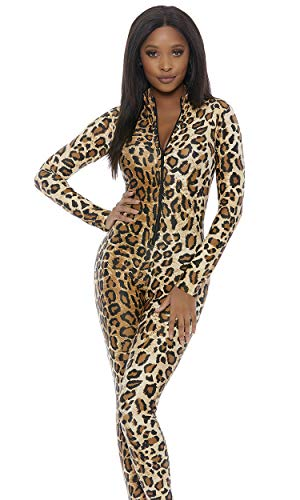Forplay Leopard Zipfront Catsuit Brown -