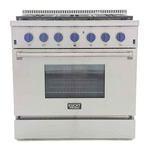 Kucht KRD366F-B KRD366F Professional 36″ 5.2 cu. ft. Dual Fuel Range for Natural Gas, Stainless-Steel, Royal Blue