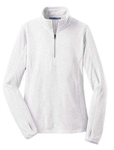Joe's USA - Ladies Microfleece 1/2-Zip Pullover Sweatshirt-White-L