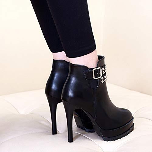 LBTSQ-Hochhackigen Stiefeln 11Cm Gut Bei Fuß Kopf Martin Stiefel Runden Kopf Fuß Sexy Sexy SAMT Warme Stiefel Mode. 9add90