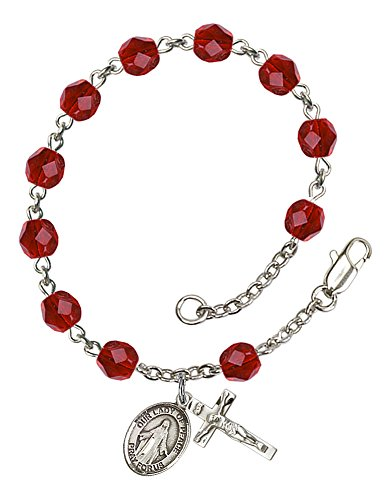 Silver Plate Rosary Bracelet features 6mm Ruby Fire Polished beads. The Crucifix measures 5/8 x 1/4. The charm features a O/L of Peace medal. Patron Saint El Salvador