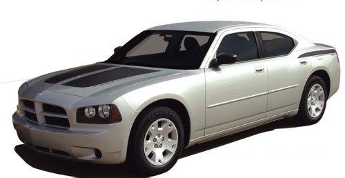 CHARGIN : 2006-2010 Dodge Charger CHARGIN Split Hood Quarter Panel Trunk Vinyl Graphic Decal Stripes (Fits SE SXT RT HEMI ALL MODELS) (Color-3M 02 Gloss Black)