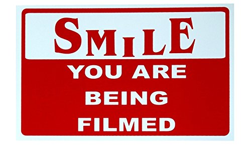1-Pc Amazing Unique Smile You Are Being Filmed Sign CCTV Security 24Hr Watched Business Property Video Hr Surveillance Reflective Decals Protect Fence Decor House Trespassing Lawn Pole Size 7