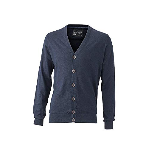 James and Nicholson Mens Cardigan (XL) (Navy Melange)