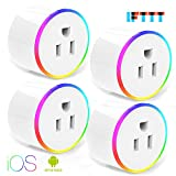 Smart Plug With WiFi Night Light Outlet Mini Plug Compatible with Alexa(Echo,Echo Dot), Google Home and IFTTT, Wireless Socket Remote Control Timer Plug Switch, No Hub Required (4 Packs)