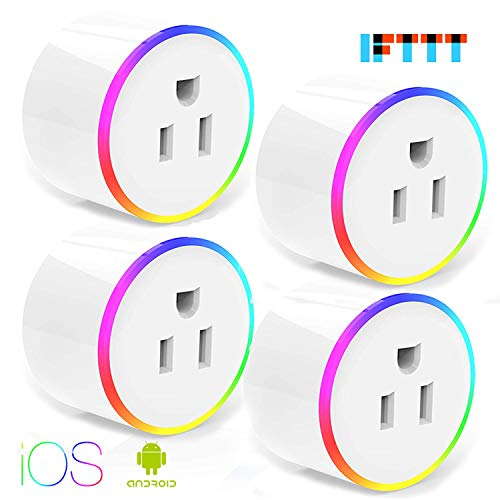 Smart Plug With WiFi Night Light Outlet Mini Plug Compatible with Alexa Echo,Echo Dot , Google Home and IFTTT, Wireless Socket Remote Control Timer Plug Switch, No Hub Required 4 Packs
