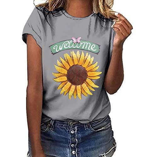 DondPO Sunflower T-Shirt Women Cute Funny Graphic Tee Teen Girls Casual Short Sleeve Tunic Shirt Tops Blouse Gray (Multi Broomstick Skirt)