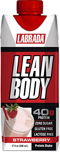 LABRADA - Lean Body Ready To Drink Whey Protein Shake, Convenient On-The-Go Meal Replacement Shake for Men & Women, 40 grams of Protein – Zero Sugar, Lactose & Gluten Free, Strawberry (Pack of 12) - High Protein Shake Diet