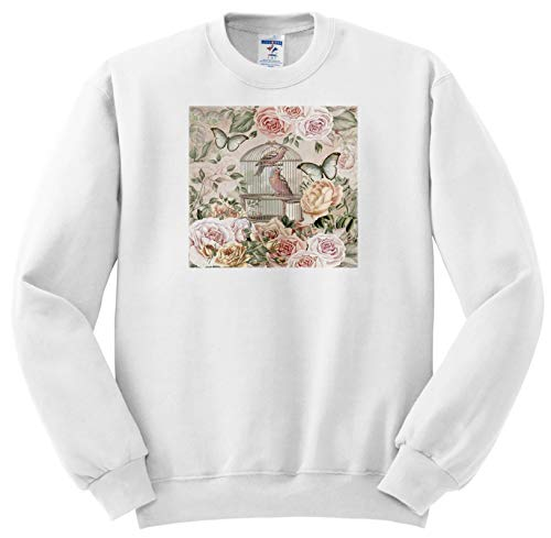 Price comparison product image Andrea Haase Art Illustration - Vintage Birdcage and Roses in Soft Pastel Colors - Sweatshirts - Youth Sweatshirt Large(14-16) (ss_289014_12)