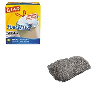 KITCOX70427GMA117006 - Value Kit - Global Material Technologies Industrial-Quality Steel Wool Hand Pad (GMA117006) and Glad ForceFlex Tall-Kitchen Drawstring Bags (COX70427)