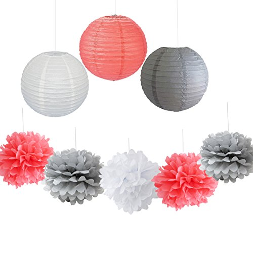 9PCS-Coral-Gray-White-Decorative-Party-Paper-Pack-Hanging-Paper-Lantern-Pom-Pom-Balls-Wedding-Flower-Centerpieces-Birthday-Girl-Baby-Shower-Decoration