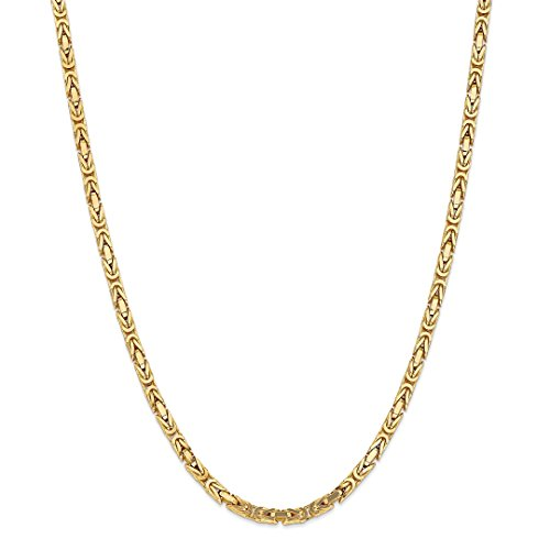 ICE CARATS 14kt Yellow Gold 4mm Link Byzantine Necklace Chain Pendant Charm Fine Jewelry Ideal Gifts For Women Gift Set From Heart 14kt Gold Byzantine Necklace
